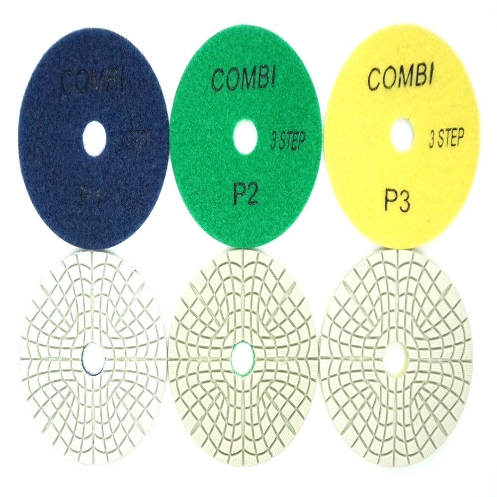 "4"" 3 Step Wet Polishing Pads-D Type"